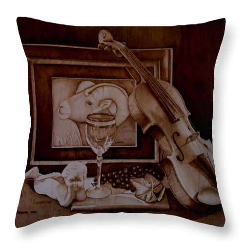 Pyrography Throw Pillow featuring the pyrography Treasures by Jo Schwartz