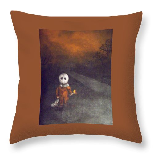Creepy Throw Pillow featuring the painting Treat Or Trick by Misty Greyeyes