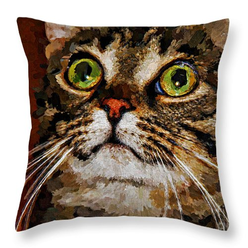 Cat Throw Pillow featuring the digital art Treat Time by Jolanta Anna Karolska