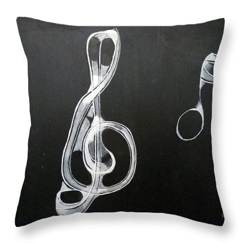 Treble Clef Throw Pillow featuring the painting Treble Clef by Richard Le Page