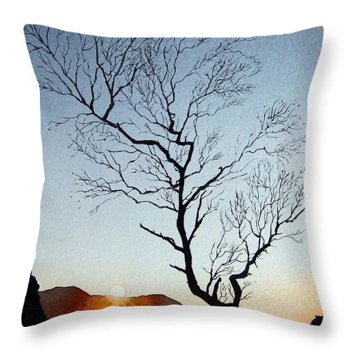 Landscape Throw Pillow featuring the painting Tree Above Crummock Water by Paul Dene Marlor