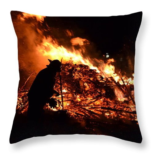Fireman Throw Pillow featuring the photograph Tree Burning by Michael Hills