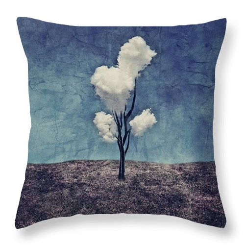 Tree Throw Pillow featuring the digital art Tree Clouds 01d2 by Aimelle