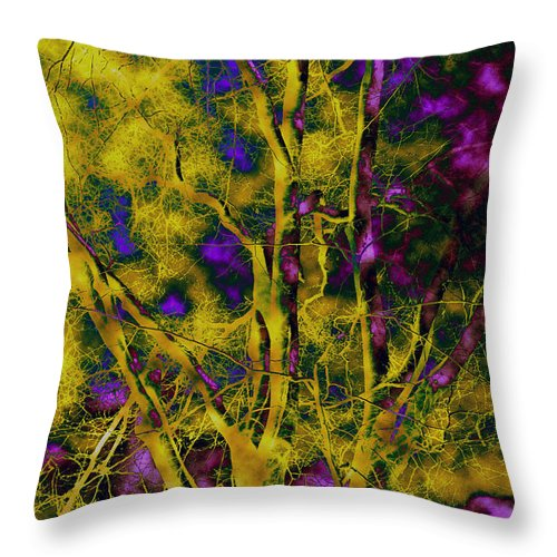 Abstract Throw Pillow featuring the photograph Tree Glow by Linda Sannuti