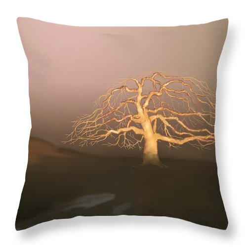 Tree Throw Pillow featuring the digital art Tree In Winter I by Kerry Beverly