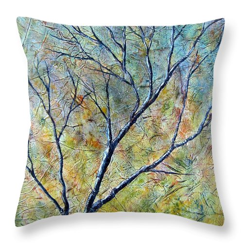 Throw Pillow featuring the painting Tree Number One by Tami Booher