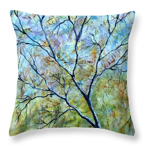 Throw Pillow featuring the painting Tree Number Two by Tami Booher