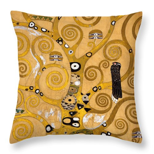 Klimt Throw Pillow featuring the painting Tree of Life by Gustav Klimt