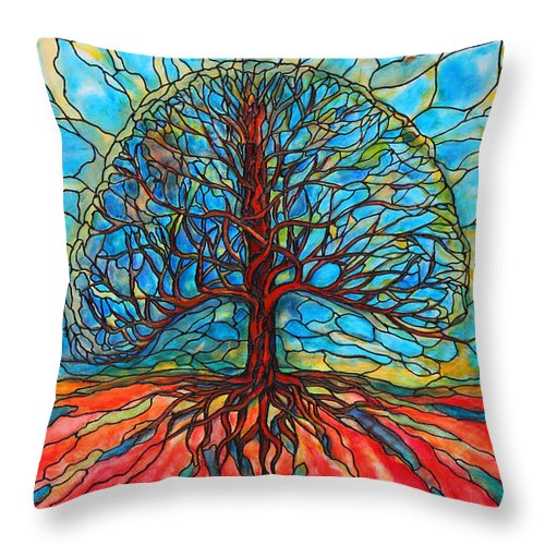 Large Throw Pillow featuring the painting Tree Of Life by Rae Chichilnitsky