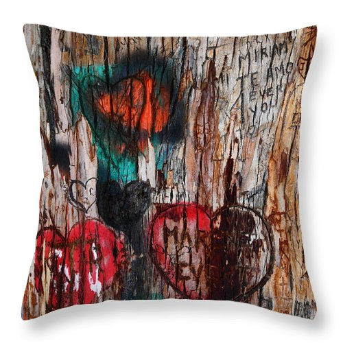 Graffiti Throw Pillow featuring the photograph Tree Of Love 1 by James Brunker