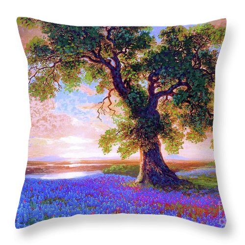 Sun Throw Pillow featuring the painting Bluebonnets by Jane Small