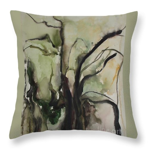 Tree Winter Abstract Original Painting Landscape Leila Atkinson Watercolor Wet On Wet Washes Trees Throw Pillow featuring the painting Tree Series V by Leila Atkinson