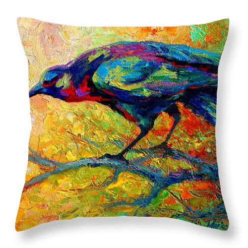 Crows Throw Pillow featuring the painting Tree Talk - Crow by Marion Rose