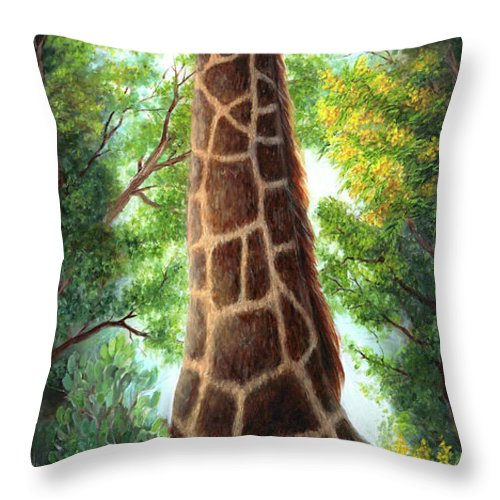 Animal Throw Pillow featuring the painting Tree Top Browser by June Hunt