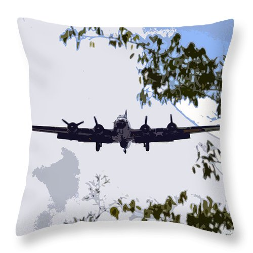 B 17 Throw Pillow featuring the photograph Tree Top Fly Er by David Lee Thompson