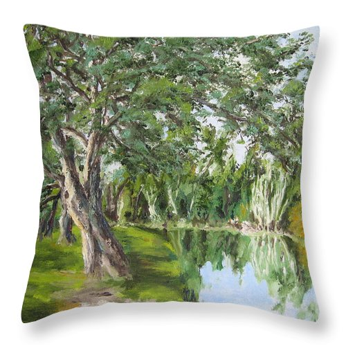 Landscape Throw Pillow featuring the painting Tree Tops Park by Lisa Boyd