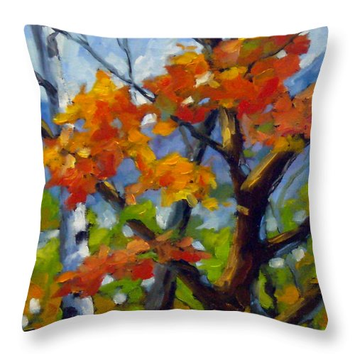 Art For Sale Throw Pillow featuring the painting Tree Tops by Richard T Pranke