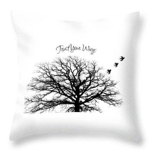 Trust Throw Pillow featuring the photograph Tree-trust Your Wings by Inspired Arts