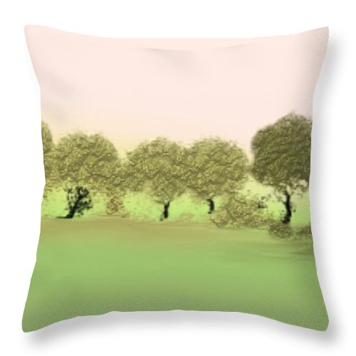 Tree Throw Pillow featuring the painting Treeline by Gina Lee Manley