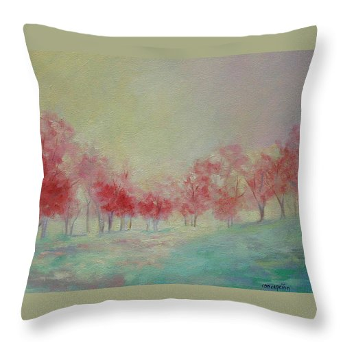 Impressionist Trees Throw Pillow featuring the painting Treeline by Ginger Concepcion