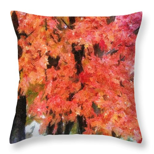 Flame Throw Pillow featuring the painting Trees Aflame by Jeffrey Kolker