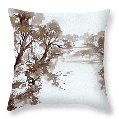 Trees Throw Pillow featuring the painting Trees By A River by Angelina Whittaker Cook