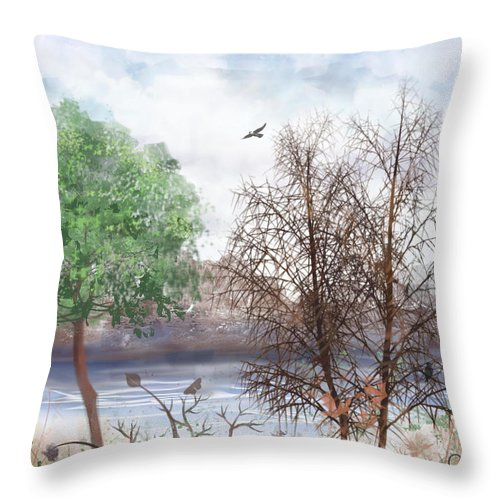 Tree Throw Pillow featuring the digital art Trees By The Lake by Arline Wagner