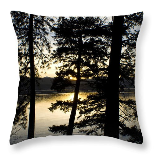 Trees Throw Pillow featuring the photograph Trees By The Lake by Idaho Scenic Images Linda Lantzy