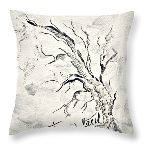 Tree Throw Pillow featuring the painting Trees Feed by Jacqueline Milner