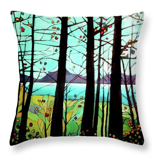 Landscape Throw Pillow featuring the painting Trees In Fall by Alison Newth