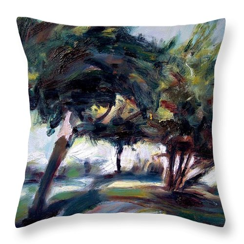 Dornberg Throw Pillow featuring the painting Trees In The Wind by Bob Dornberg
