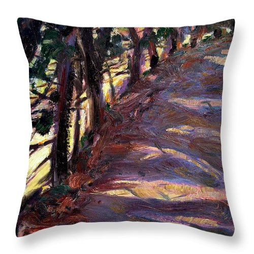 Dornberg Throw Pillow featuring the painting Trees Line The Road by Bob Dornberg