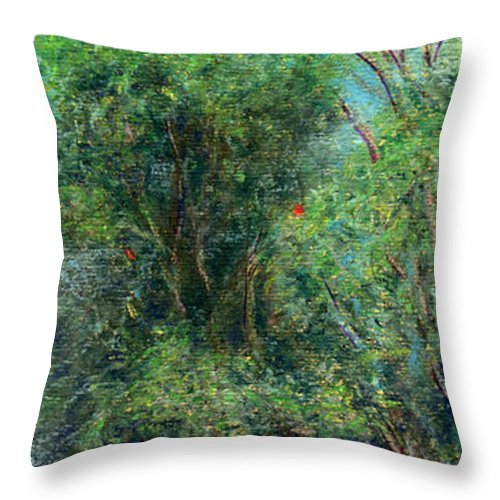 Rainbow Colors Pastel Throw Pillow featuring the painting Trees Of Kokee by Kenneth Grzesik