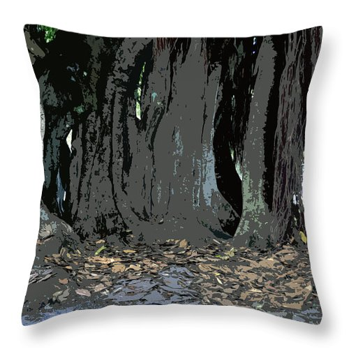 Banyan Trees Throw Pillow featuring the painting Trees Of The Banyan by David Lee Thompson