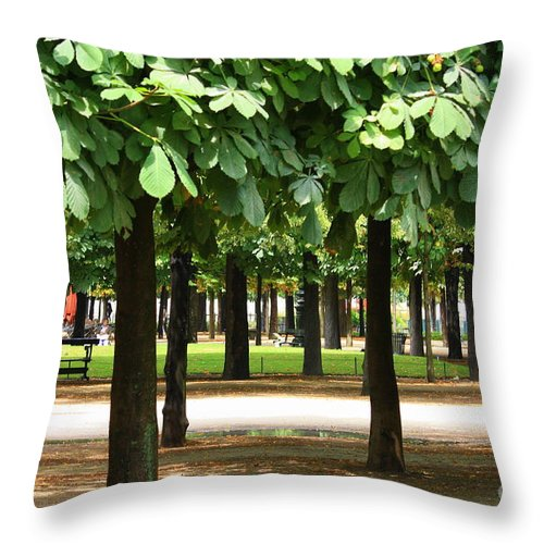 French Garden Throw Pillow featuring the photograph Trees Of Tuilieres by Carol Groenen