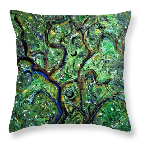 Green Throw Pillow featuring the painting Trees by Pam Roth O'Mara