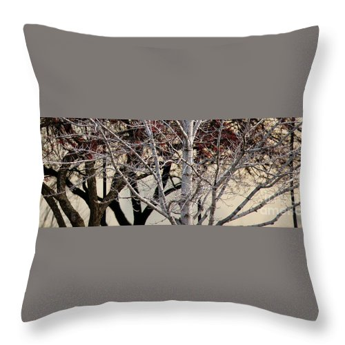 Trees Throw Pillow featuring the photograph Trees Reflection by Linda Shafer