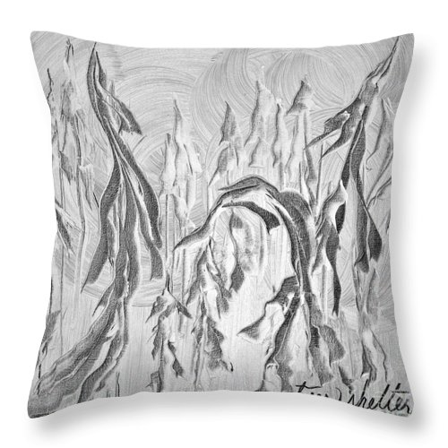 Serenity Throw Pillow featuring the painting Trees Shelter by Jacqueline Milner