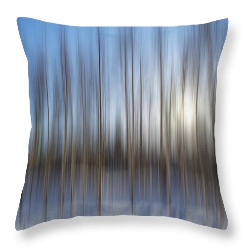 Abstract Throw Pillow featuring the photograph trees Alaska blue abstract by Pam Elliott