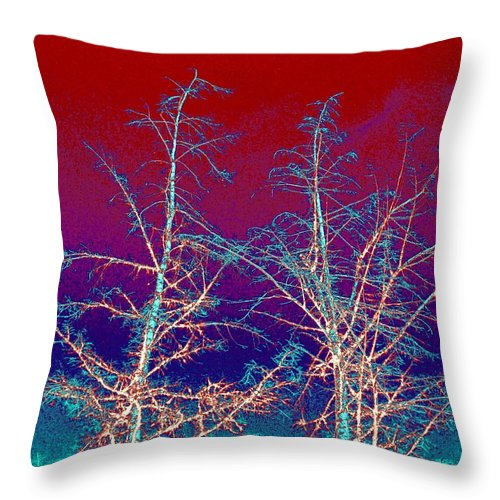 Abstract Throw Pillow featuring the digital art Treetops 4 by Will Borden