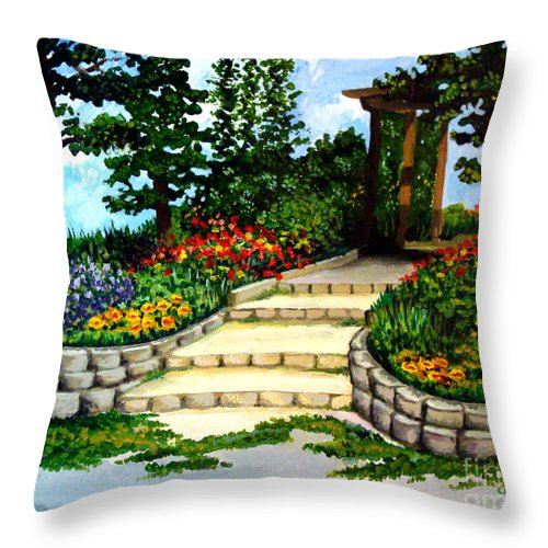 Landscape Throw Pillow featuring the painting Trellace Gardens by Elizabeth Robinette Tyndall