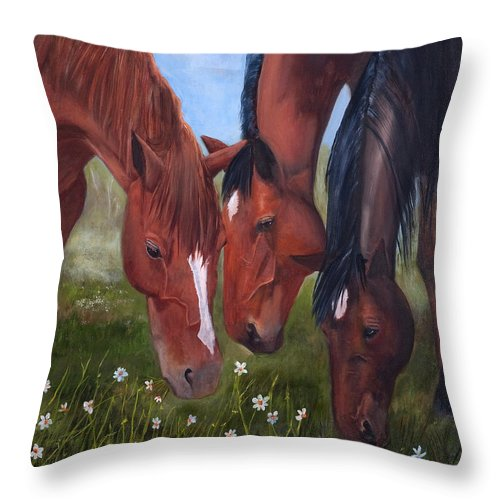 Jan Holman Art Painting 2010 Horses.animals Throw Pillow featuring the painting Tres Amigos by Jan Holman