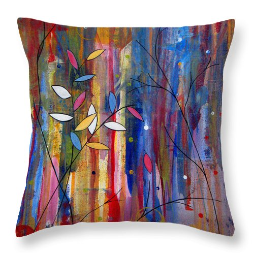 Abstract Throw Pillow featuring the painting Tres Jolie by Ruth Palmer