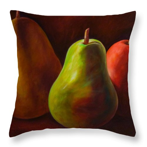 Fruit Throw Pillow featuring the painting Tri Pear by Shannon Grissom