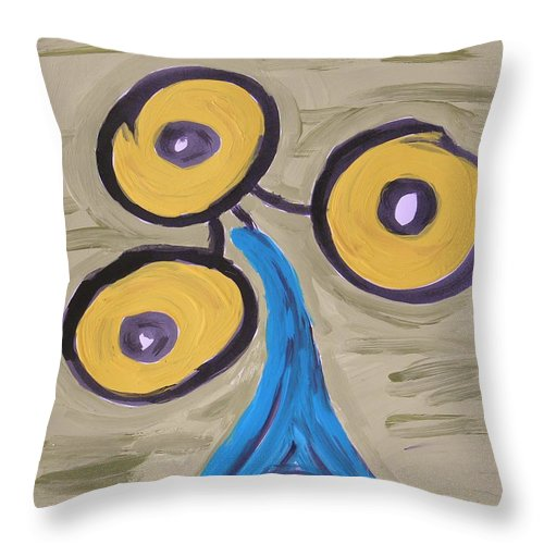 Acrylic And Ink Throw Pillow featuring the painting Triangular Blue by Mary Carol Williams