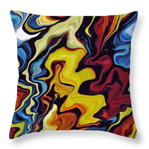 Abstract Throw Pillow featuring the digital art Tribal Drums I by Donna Proctor