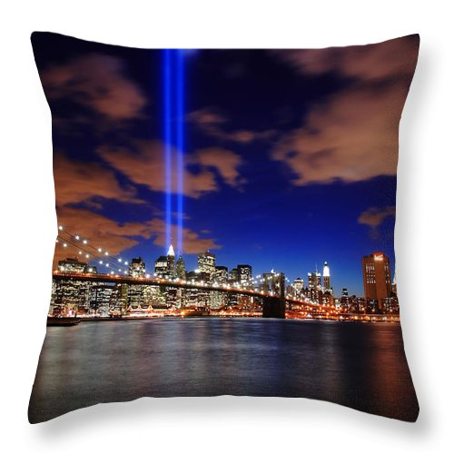 New York City Throw Pillow featuring the photograph Tribute In Light by Rick Berk
