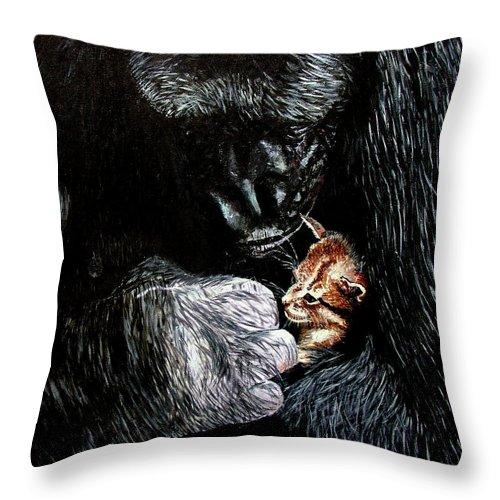 Gorillia Throw Pillow featuring the painting Tribute To Koko by Stan Hamilton