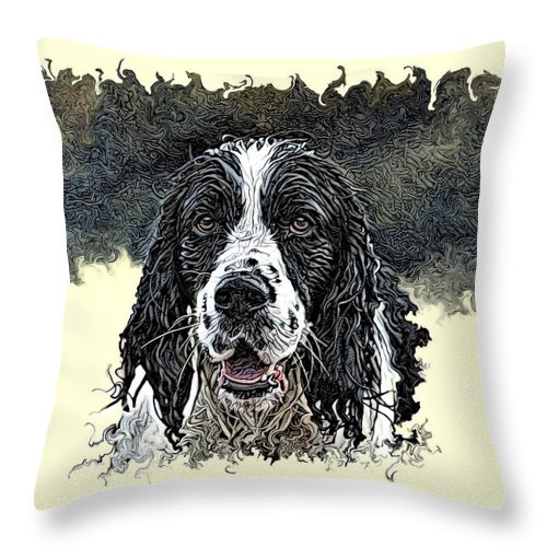 Digital Art Throw Pillow featuring the digital art Tribute To Spot. Rip by Artful Oasis