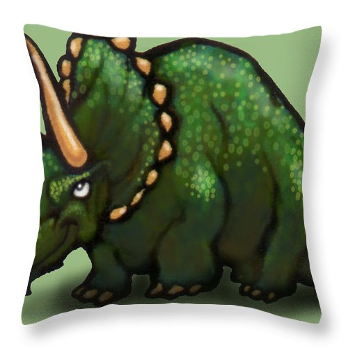 Triceratops Throw Pillow featuring the greeting card Triceratops by Kevin Middleton